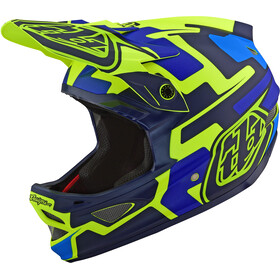 Troy Lee Designs D3 Fiberlite Kask rowerowy, speedcode/yellow/blue